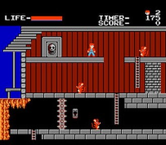 The Goonies (Famicom video game) - Screenshot of the restaurant stage