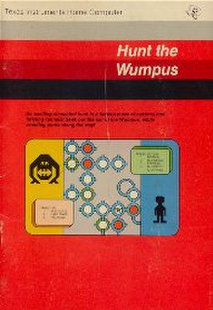 Hunt the Wumpus - TI-99/4A boxart showing the visualization of the Wumpus and the graphics-based labyrinth