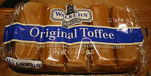 Toffee - Toffee from the UK (a chewy variant) in cellophane wrapping.