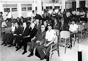 Greek military junta of 1967–1974 - The Junta on trial. Front row (from left): Papadopoulos, Makarezos, Pattakos. Ioannidis can be seen on the second row, just behind Pattakos.