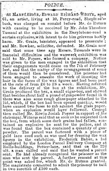 Parcel Bomb Sent To Madame Tussauds In 1889