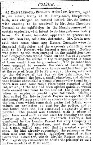 Letter bomb - Parcel bomb sent to Madame Tussauds in 1889