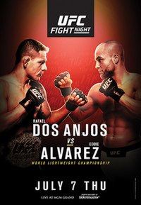 A poster or logo for UFC Fight Night: Dos Anjos vs. Alvarez.