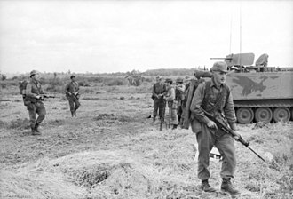 Operation Coburg - New Zealanders from W Coy, 2 RAR/NZ patrolling during Operation Coburg