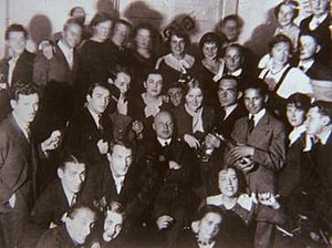 Chaim Goldberg - Chaim Goldberg, the youngest student to be accepted in 1934, with the student body accepted to the Academy that year. (Chaim Goldberg is standing to the left of the professor, holding a bottle of wine)