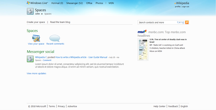 Windows Live Spaces homepage