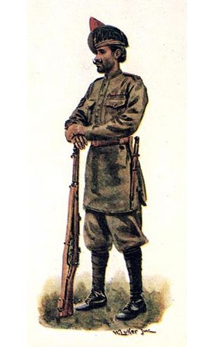 59th Scinde Rifles (Frontier Force) - Havildar of 59th Scinde Rifles (Frontier Force). Painting by William Luker Jr, 1918.