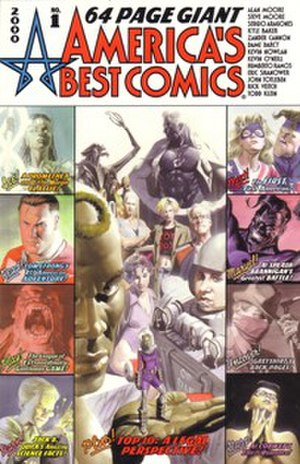 America's Best Comics - Alex Ross' cover to America's Best Comics 64 Page Giant, featuring many of the characters created by Alan Moore for the imprint.