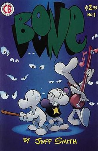 Bone (comics) - Cover of the first Bone issue; the same image is used for the cover of Bone: Handbook and for Bone: Out From Boneville.
