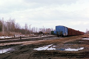 Escanaba and Lake Superior Railroad - The freight yard in Channing, Michigan, which was the junction for Milwaukee Road trains bound for Ontonagon. 2015