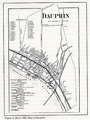 Dauphin, Pennsylvania - Business directory map of Dauphin Borough in 1862