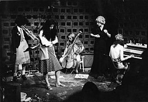Feminist Improvising Group - The Feminist Improvising Group, October 1977 Left to right: Corinne Liensol, Maggie Nicols, Georgie Born, Lindsay Cooper, Cathy Williams
