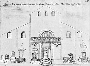 Old St. Peter's Basilica - A sketch by Giacomo Grimaldi of the interior of St. Peter's during its reconstruction, showing the temporary placement of some of the tombs.