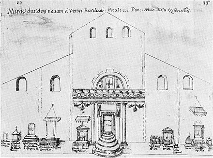 A sketch by Giacomo Grimaldi of the interior of St. Peter's during its reconstruction, showing the temporary placement of some of the tombs. Grimaldi sketch.jpg