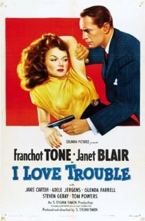 <i>I Love Trouble</i> (1948 film) 1948 film by S. Sylvan Simon