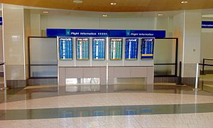 Salt Lake City International Airport - The flight status screens inside the International terminal.