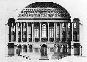 Irish House of Commons - Engraving of section of the Irish House of Commons chamber by Peter Mazell based on the drawing by Rowland Omer 1767