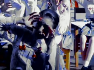 Jeremy (song) - A shot from the end of the video, depicting Jeremy's blood-spattered classmates.