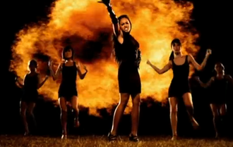 "Burn (Jessica Mauboy song) - Mauboy leads her dancers in the music video for ""Burn."""