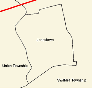 Jonestown, Lebanon County, Pennsylvania - Border detail of Jonestown and surrounding municipalities