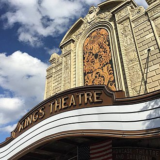 Kings Theatre (Brooklyn) - Close-up of the marquee during renovation.