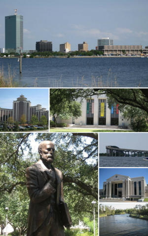 Clockwise from top: Downtown Lake Charles, L'Auberge du Lac Casino, McNeese State University, John McNeese statue, Lake Charles City Court, Henderson Bayou