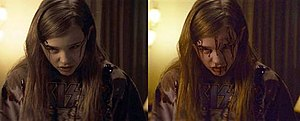 Let Me In (film) - Moretz wore minimal prosthetic blood applied to her face for reference (left); visual effects artists later rendered the gradual release of blood in post-production (right).