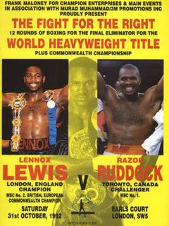 Lennox Lewis vs. Donovan Ruddock Boxing competition