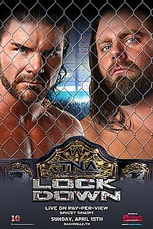 Promotional poster featuring two adult white males standing behind chainlink fencing.