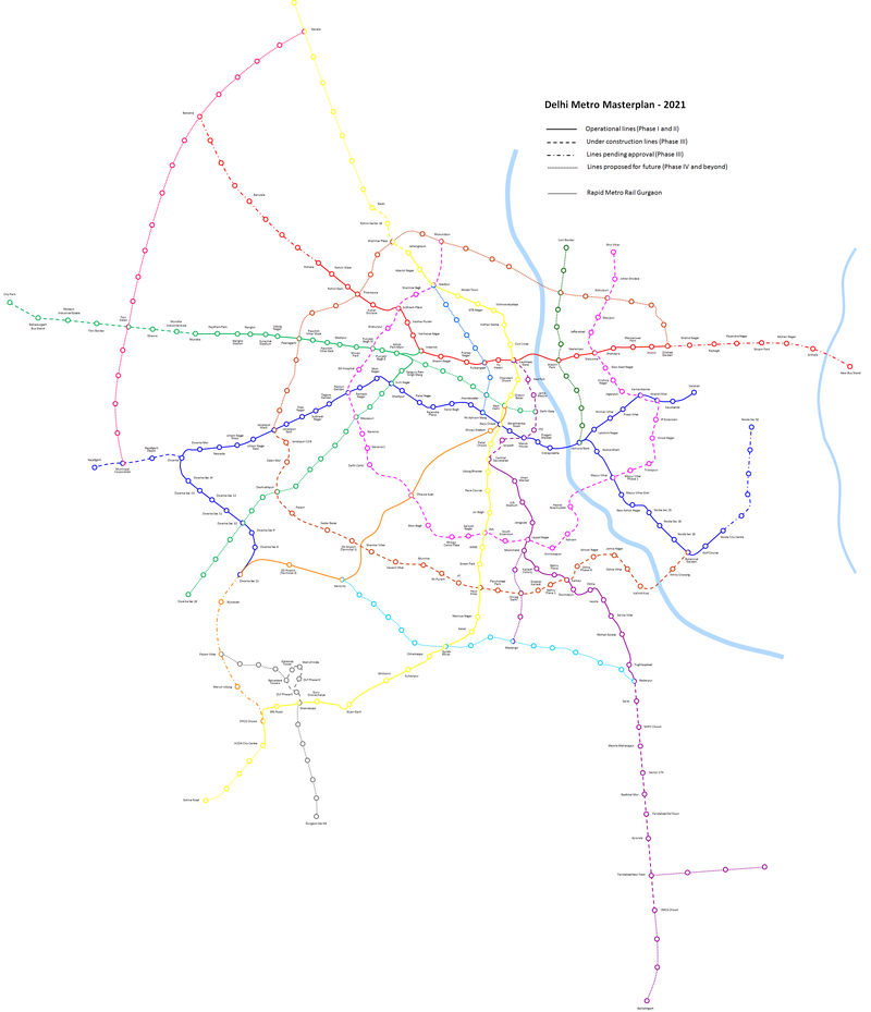Delhi Metro Masterplan 2021. Only those proposed lines are included here which are very likely to get built. Other proposed lines are not included.