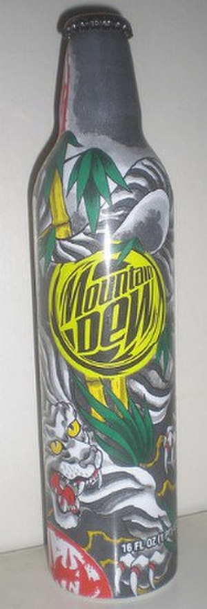 Green Label - Limited edition bottle Mountain Dew bottle featuring Green Label art