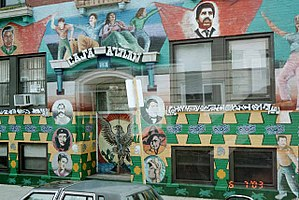 Chicano Movement -  Casa Aztlán. A mural in Pilsen, Chicago for the Chicano Movement