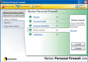 Norton Personal Firewall - Norton Personal Firewall main interface