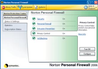 Norton Personal Firewall - Norton Personal Firewall main interface