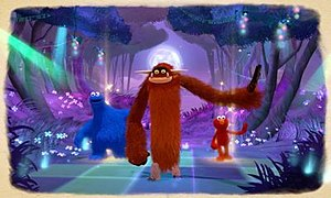 Sesame Street: Once Upon a Monster - A dancing mini-game in Once Upon a Monster, where the new character of Marco (front center) dances along with Cookie Monster (left) and Elmo (right).