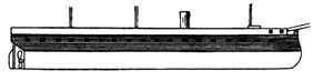 Osmaniye-class ironclad - The shading represents areas of the hull covered by armor