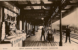 Harwich International railway station - Early postcard of the platform