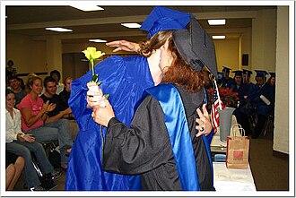 Cascadilla School - Current Headmisstress Patricia Kendall congratulates a graduating senior of the class of 2005.