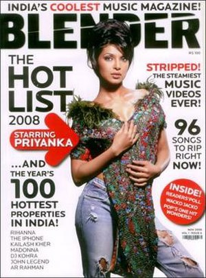 Blender (magazine) - Priyanka Chopra on the November 2008 cover of the Indian edition of Blender
