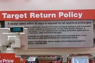Product return - The return policy posted at a Target store