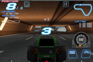 "Ridge Racer Accelerated - In-game screenshot of an arcade race, taking place on the track ""Shuttleloop Highway"". The featured car is an ESPERANZA Type-S."
