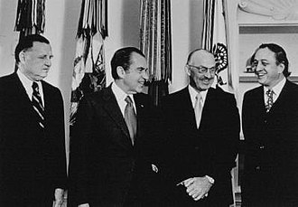 Robert A. Good - Dr. Robert A. Good (right) at the White House in 1973 with (left to right) Benno Schmidt, President Richard Nixon, and Dr. R. L. Clark (M.D. Anderson Cancer Center). The occasion was the Conquest of Cancer Program, part of the War on Cancer.