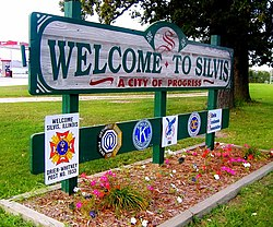 Silvis, Illinois welcome sign