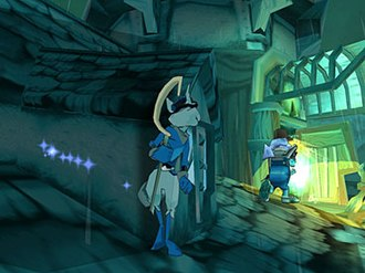 Sly Cooper - A screenshot from Sly Cooper and the Thievius Raccoonus, showing Sly hiding from a guard. The blue lights to the left indicate Sly's thief senses, in this case, a wall that he can slide against.
