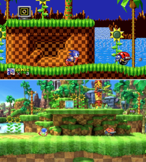 Sonic Generations - Green Hill Zone in Sonic the Hedgehog (1991, top) and Sonic Generations (bottom); the stage was one of the nine levels remastered in Generations