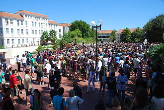"Stellenbosch University - Students gathering on the campus' ""Red Square"""