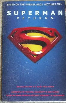 The front cover has the title, in light blue, above the Superman logo. The title and the Superman shield are embossed and set against a blue blackground. The cover is essentially the original teaser poster for the film.
