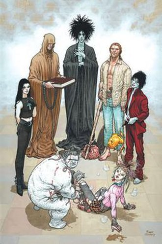 Endless (comics) - The Endless, as depicted on promotional artwork for The Sandman: Endless Nights (clockwise, from left): Death, Destiny, Dream, Destruction, Desire, Delirium, and Despair. Art by Frank Quitely