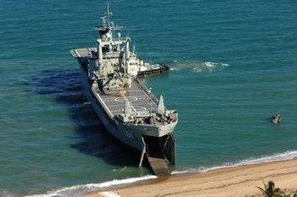 HMAS Tobruk (L 50) - HMAS Tobruk beaching during an exercise in 2006