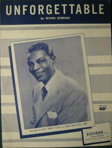 Unforgettable early 1950s sheet music Irving Gordon Nat King Cole.png